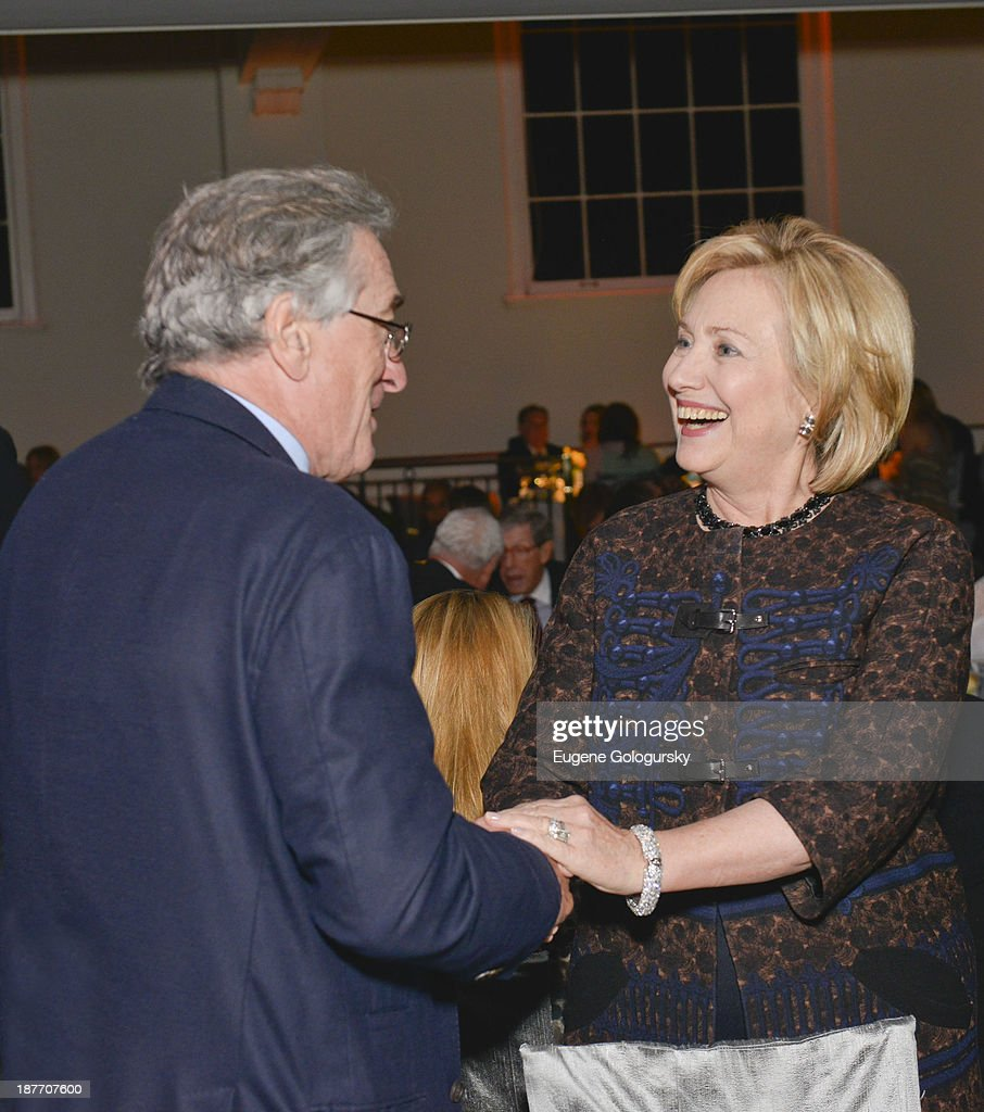 Robert DeNiro and Former Secretary of State <a gi-track='captionPersonalityLinkClicked' href=/galleries/search?phrase=Hillary+Clinton&family=editorial&specificpeople=76480 ng-click='$event.stopPropagation()'>Hillary Clinton</a> attend the The East Harlem School 2013 Fall Benefit Honoring Susan And Alan Patricof on November 11, 2013 in New York City.