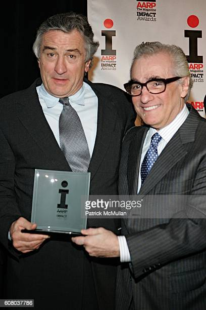 Robert DeNiro and Martin Scorsese attend AARP The Magazine Announces the Winners of the 2006 Impact Awards at New York Public Library on December 18...