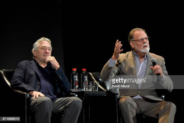 Robert DeNiro and Taylor Hackford speaks onstage during the panel for 'The Godfather' 45th Anniversary Screening during 2017 Tribeca Film Festival...