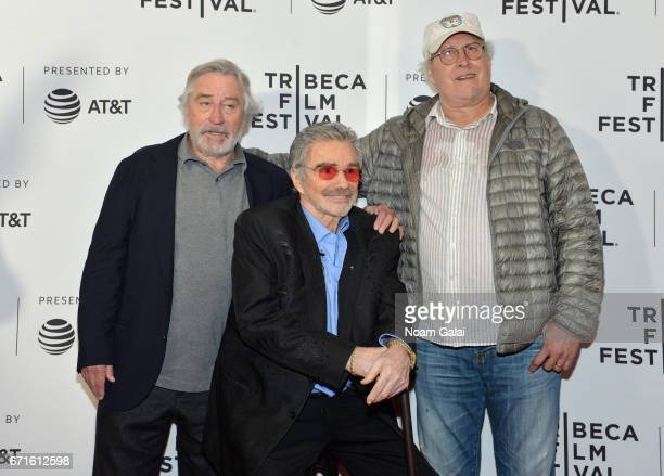 Robert DeNiro Burt Reynolds and Chevy Chase attend the 'Dog Years' Premiere during 2017 Tribeca Film Festival at Cinepolis Chelsea on April 22 2017...