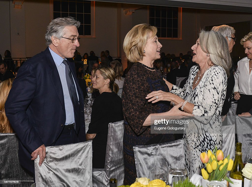 Robert DeNiro, Former US Secretary of State Hillary Clinton and Susan Patricof attend the The East Harlem School 2013 Fall Benefit Honoring Susan And Alan Patricof on November 11, 2013 in New York City.