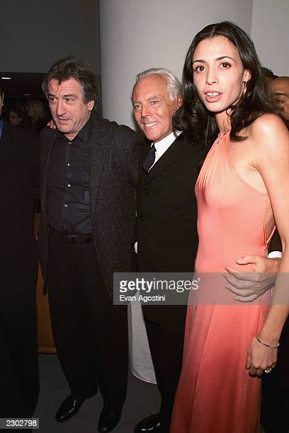 Robert Deniro with his daughter Drena and Giorgio Armani at the Armani Fashion retrospective opening night gala at the Guggenheim Museum in New York...