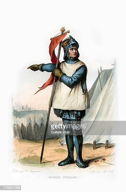 Robert d'Hauteville known as Guiscard Norman adventurer conspicuous in the conquest of southern Italy and Sicily c10221085 Engraving by A Boilly