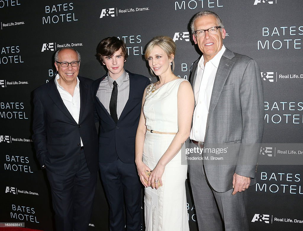 Robert DiBitetto, A&E Senior Vice President of Programming, actor Freddie Highmore, actress Vera Farmiga and executive producer Carlton Cuse attend the Premiere of A&E Network's 'Bates Motel' at the Soho House West Hollywood, on March 12, 2013 in West Hollywood, California.