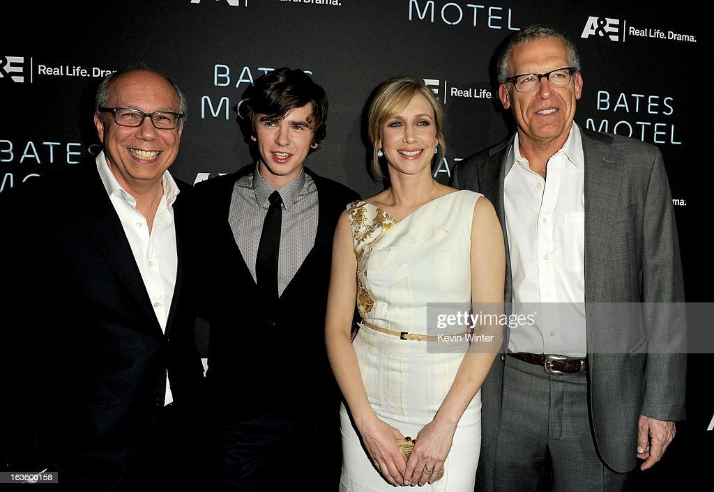 Robert DiBitetto, Senior Vice President, A&E, actors Freddie Highmore, Vera Farmiga and executive producer Carlton Cuse arrive at the premiere of A&E Network's 'Bates Motel' at Soho House on March 12, 2013 in West Hollywood, California.