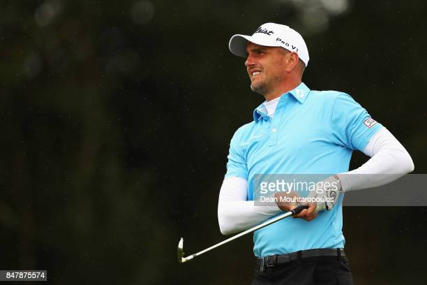 Robert Dinwiddie of England hits his second shot on the 1st hole during day 3 of the European Tour KLM Open held at The Dutch on September 16 2017 in...