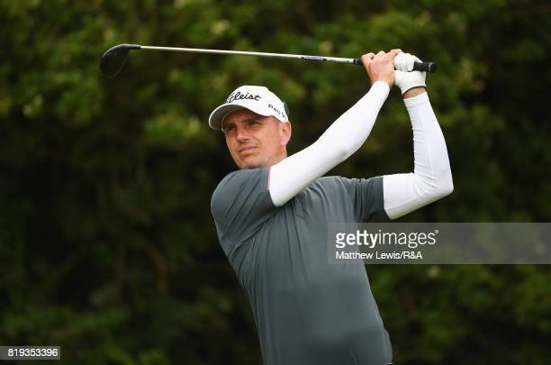 Robert Dinwiddie of England on the fifth tee during the first round of the 146th Open Championship at Royal Birkdale on July 20 2017 in Southport...