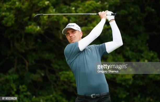 Robert Dinwiddie of England tees off on the 5th hole during the first round of the 146th Open Championship at Royal Birkdale on July 20 2017 in...