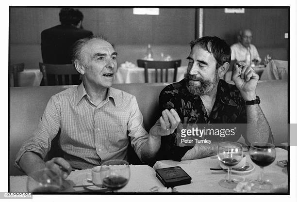 Robert Doisneau and Gilles Migangos talk in a restaurant Doisneau is known for his blackandwhite photographs which captured ordinary people doing...