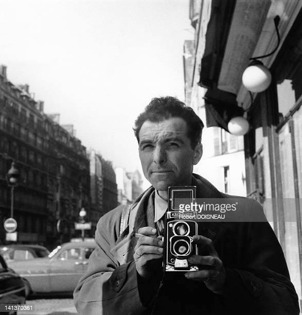 Robert Doisneau's selfportrait with his Rolleiflex in March 1953 in France