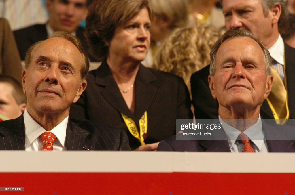 Robert Dole and George H. W. Bush during 2004 Republican National Convention - Day 2 - Inside at Madison Square Garden in New York City, New York, United States.