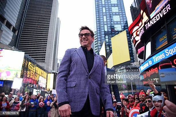 Robert Downey Jr along with fellow Avengers Chris Evans Mark Ruffalo and Jeremy Renner takeover Time Square on Good Morning America April 24 2015 in...