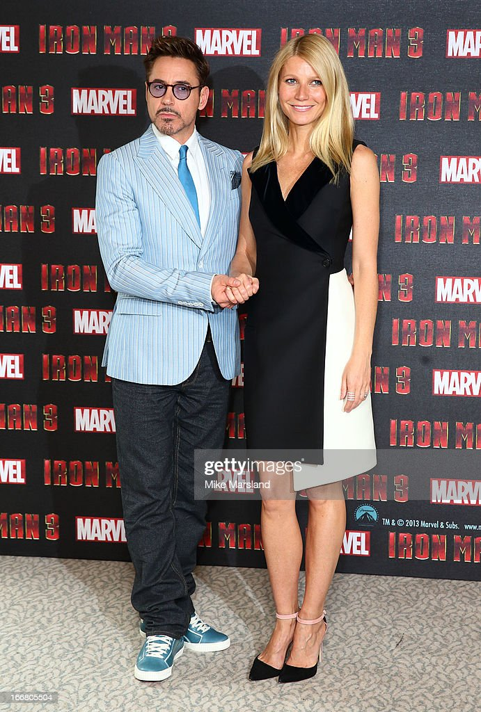 Robert Downey Jr and Gwyneth Paltrow attend the Iron Man 3 photocall at The Dorchester on April 17, 2013 in London, England.