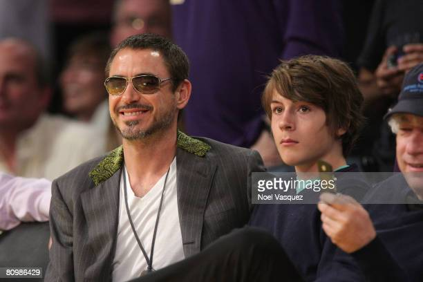 Robert Downey Jr and his son Indio Downey attend the Los Angeles Lakers against Utah Jazz playoff game at the Staples Center on May 4 2008 in Los...
