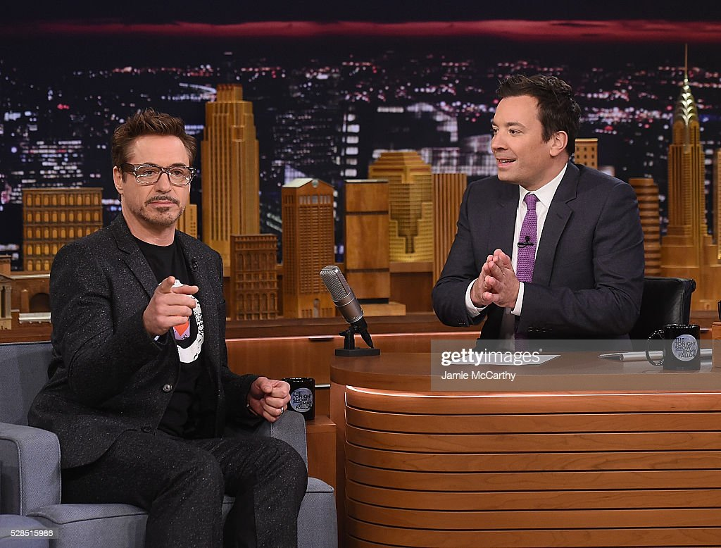 Robert Downey Jr and host Jimmy Fallon during a segement on 'The Tonight Show Starring Jimmy Fallon' at Rockefeller Center on May 5, 2016 in New York City.