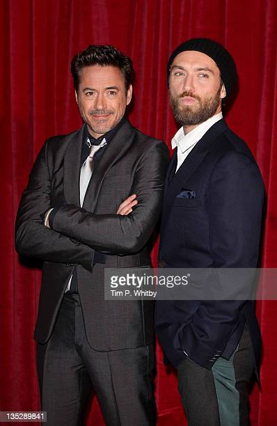 Robert Downey Jr and Jude Law attend the European film premiere of 'Sherlock Holmes A Game Of Shadows' at Empire Leicester Square on December 8 2011...