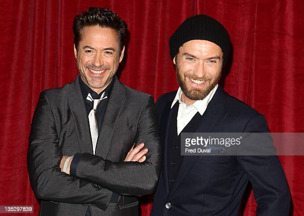 Robert Downey Jr and Jude Law attend UK film premiere of 'Sherlock Holmes A Game Of Shadows' at Empire Leicester Square on December 8 2011 in London...