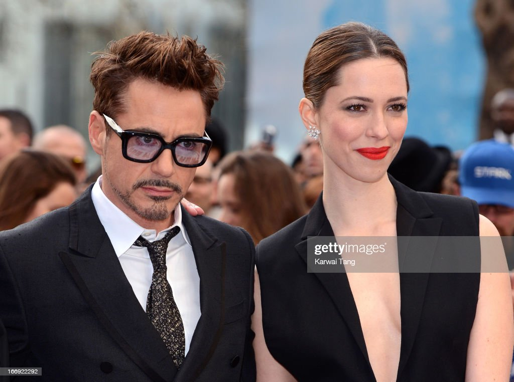 Robert Downey Jr and Rebecca Hall attends a special screening of 'Iron Man 3' at Odeon Leicester Square on April 18, 2013 in London, England.