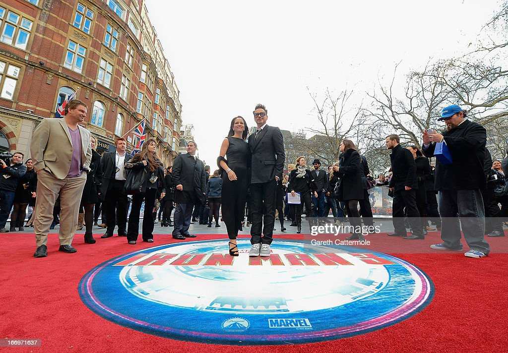 Robert Downey Jr and Susan Downey attend a special screening of 'Iron Man 3' at Odeon Leicester Square on April 18, 2013 in London, England.
