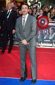 Robert Downey Jr arrives for the European film premiere of 'Captain America Civil War' at Vue Westfield on April 26 2016 in London England