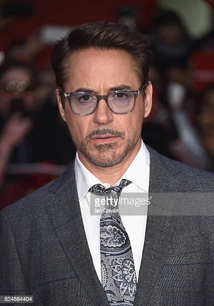 Robert Downey Jr arrives for UK film premiere 'Captain America Civil War' at Vue Westfield on April 26 2016 in London England