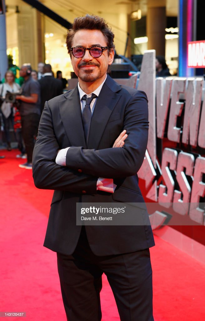 Robert Downey Jr attends Marvel Avengers Assemble European Premiere at Vue Westfield on April 19, 2012 in London, England.