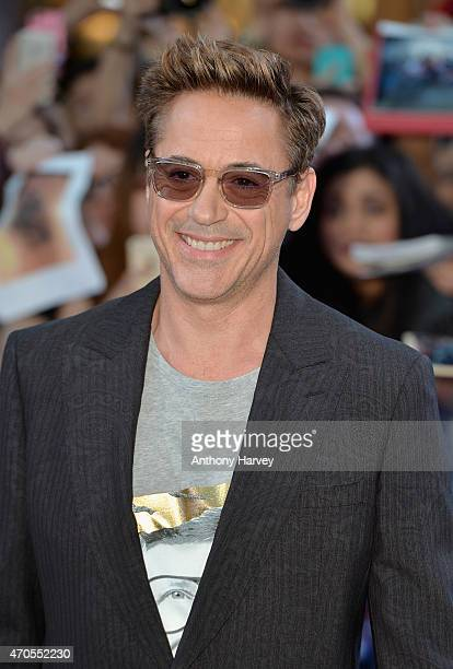 Robert Downey Jr attends 'The Avengers Age Of Ultron' European premiere at Westfield London on April 21 2015 in London England