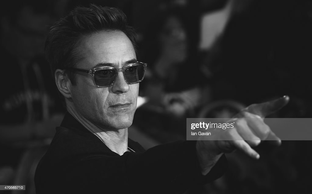 Robert Downey Jr attends the European premiere of 'The Avengers: Age Of Ultron' at Westfield London on April 21, 2015 in London, England.