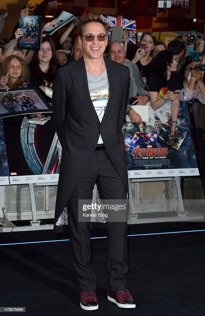 <a gi-track='captionPersonalityLinkClicked' href=/galleries/search?phrase=Robert+Downey+Jr.&family=editorial&specificpeople=204137 ng-click='$event.stopPropagation()'>Robert Downey Jr.</a> attends the European premiere of 'The Avengers: Age Of Ultron' at Westfield London on April 21, 2015 in London, England.
