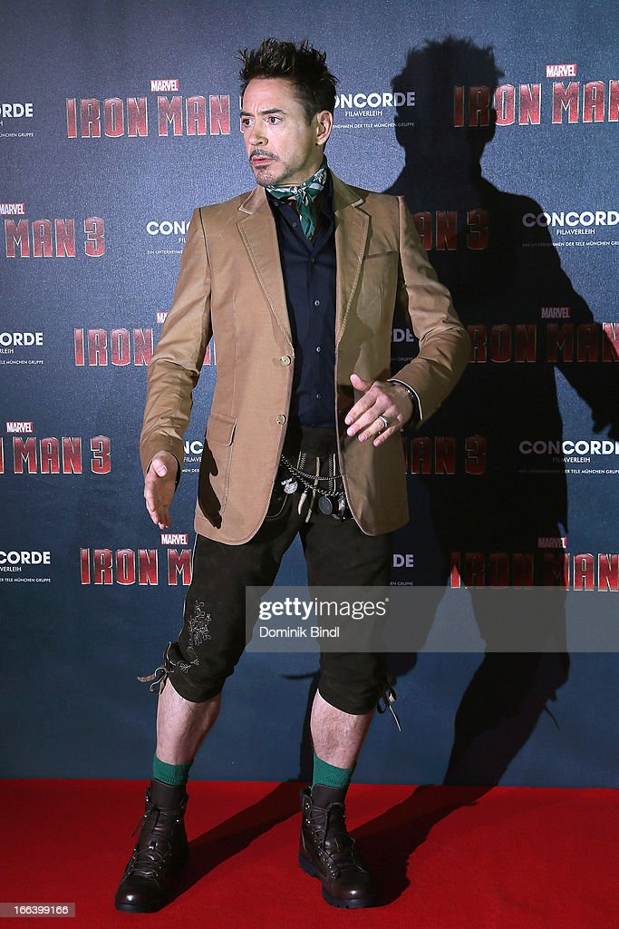 Robert Downey Jr attends the 'Iron Man 3' Photocall at Hotel Bayerischer Hof on April 12, 2013 in Munich, Germany.