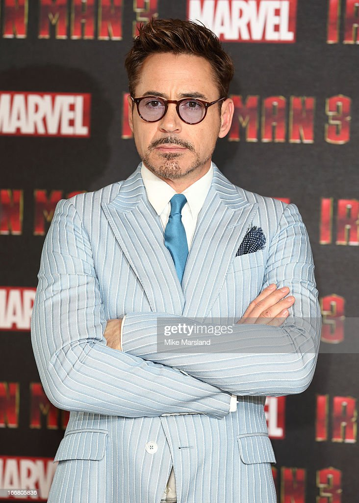 Robert Downey Jr attends the Iron Man 3 photocall at The Dorchester on April 17, 2013 in London, England.