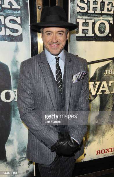 Robert Downey Jr attends the World Premiere of 'Sherlock Holmes' at Empire Leicester Square on December 14 2009 in London England