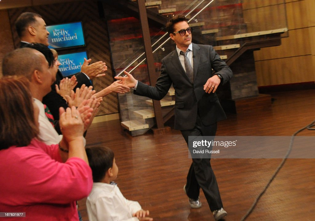 MICHAEL -4/30/13 - <a gi-track='captionPersonalityLinkClicked' href=/galleries/search?phrase=Robert+Downey+Jr.&family=editorial&specificpeople=204137 ng-click='$event.stopPropagation()'>Robert Downey Jr.</a>, is a guest on 'LIVE with Kelly and Michael,' distributed by Disney-ABC Domestic Television. ROBERT