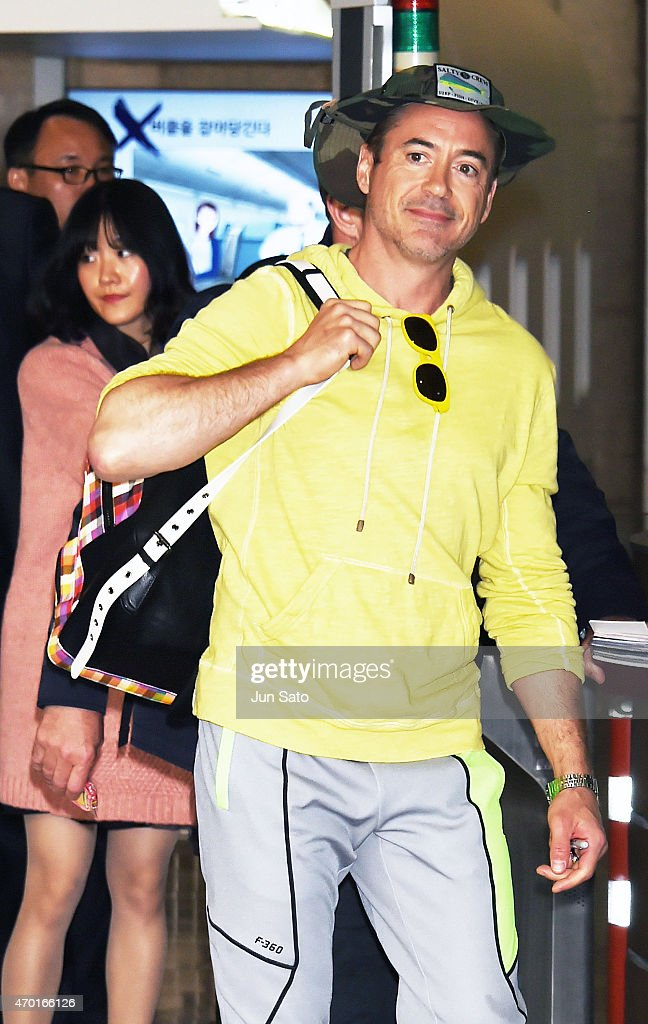 Robert Downey Jr is seen upon departure at Gimpo International Airport on April 18 2015 in Seoul South Korea