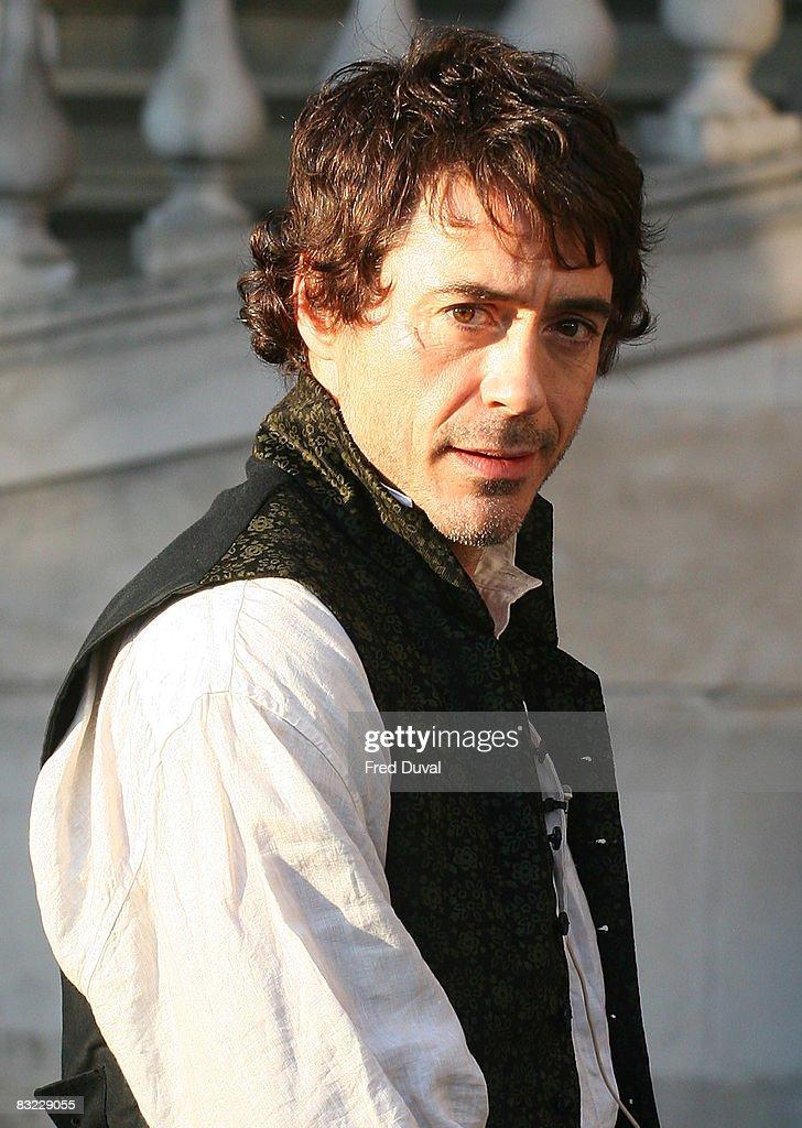 Robert Downey Jr on the set of 'Sherlock Holmes' on October 11, 2008 in London, England.