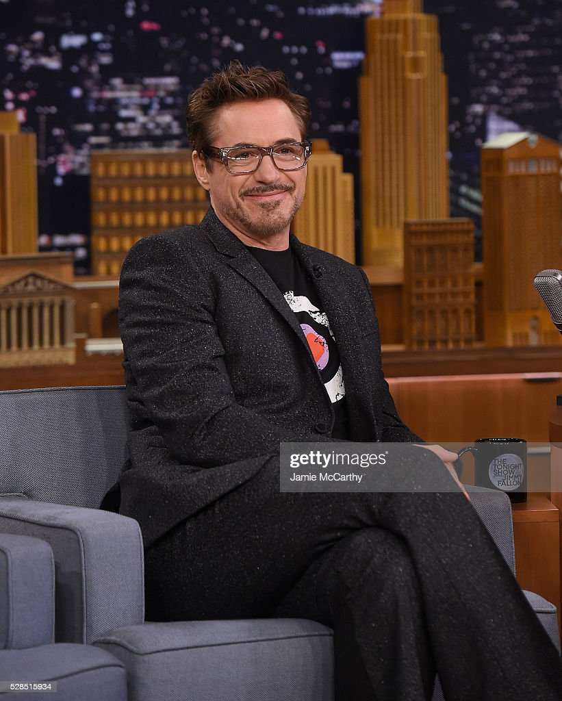Robert Downey Jr visits 'The Tonight Show Starring Jimmy Fallon' at Rockefeller Center on May 5, 2016 in New York City.