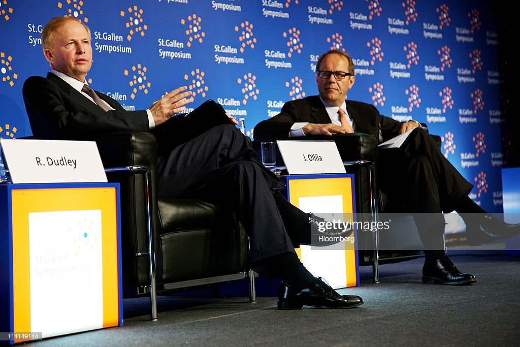 Robert Dudley, chief executive officer of BP Plc, left, speaks as <a gi-track='captionPersonalityLinkClicked' href=/galleries/search?phrase=Jorma+Ollila&family=editorial&specificpeople=619838 ng-click='$event.stopPropagation()'>Jorma Ollila</a>, chairman of Royal Dutch Shell Plc, listens during the St. Gallen symposium in St.Gallen, Switzerland, on Friday, May 13, 2011. Dudley said he's ''optimistic'' about reaching an agreement on a share swap with state-owned Russian oil producer OAO Rosneft. Photographer: Gianluca Colla/Bloomberg via Getty Images