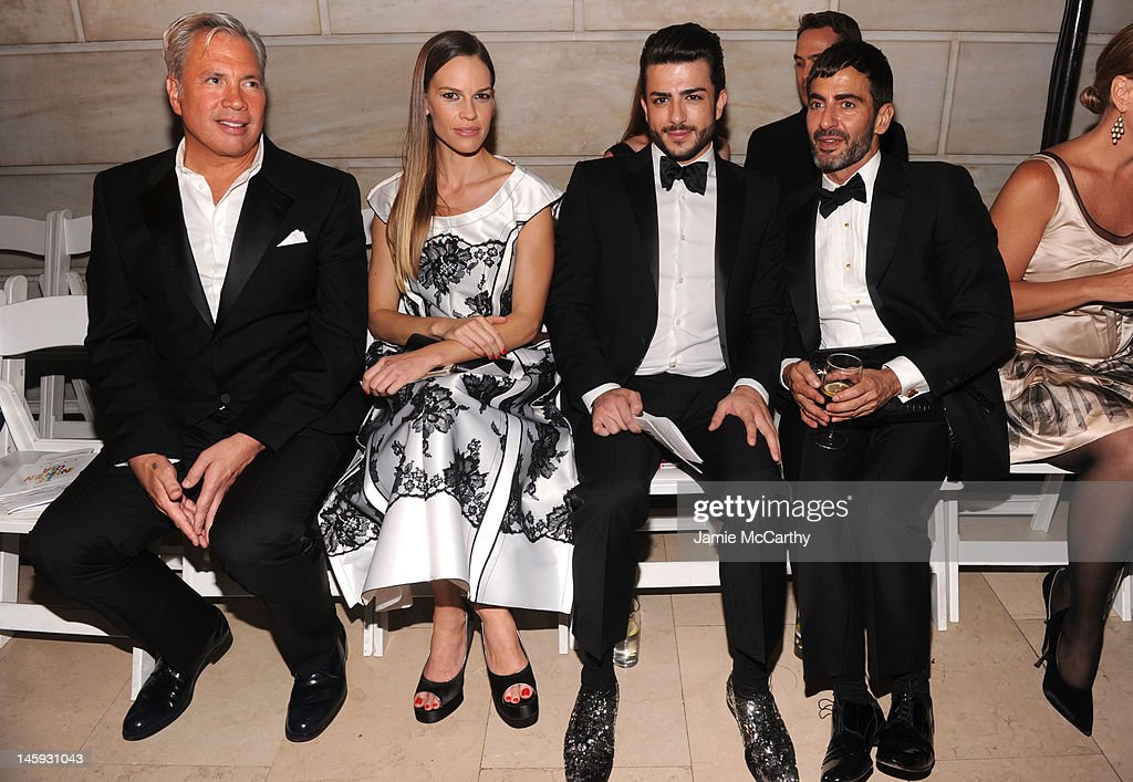 Robert Duffy, actress Hilary Swank, Harry Louis, and designer Marc Jacobs attend the 3rd annual amfAR Inspiration Gala New York at The New York Public Library - Stephen A. Schwarzman Building on June 7, 2012 in New York City.