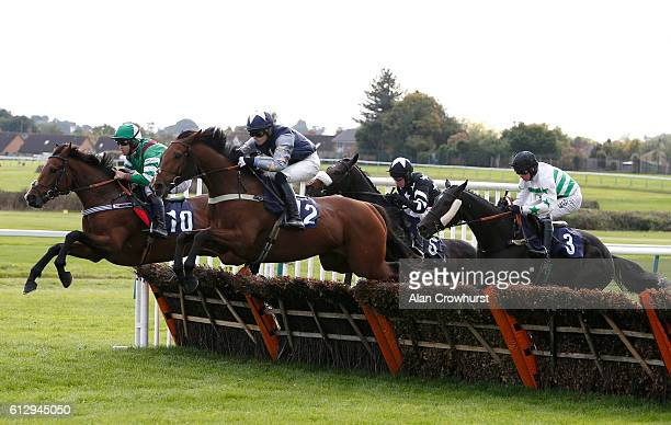 Robert Dunne riding Furiously Fast on their way to winning The bet365 Handicap Hurdle Race at Hereford racecourse on October 6 2016 in Hereford...