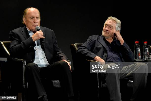 Robert Duvall and Robert DeNiro speak onstage during the panel for 'The Godfather' 45th Anniversary Screening during 2017 Tribeca Film Festival...
