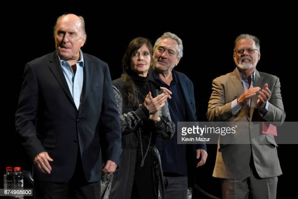 Robert Duvall Talia Shire Robert DeNiro and Taylor Hackford speak onstage during the panel for 'The Godfather' 45th Anniversary Screening during 2017...