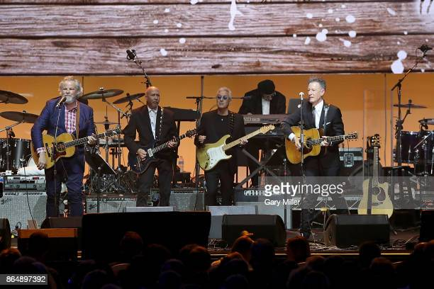 Robert Earl Keen and Lyle Lovett perform in concert during the 'Deep From The Heart One America Appeal Concert' at Reed Arena on October 21 2017 in...
