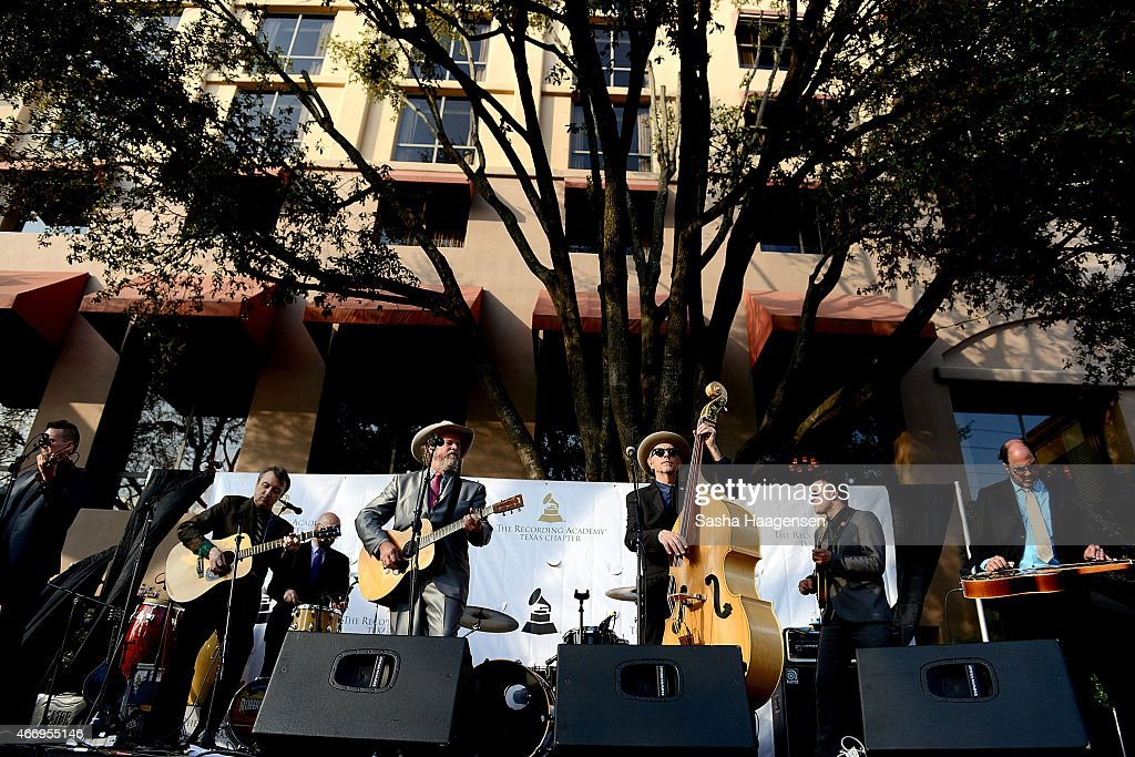 Robert Earl Keen, center, performs with his band at the Grammy Block Party during SXSW at Four Seasons Hotel on March 19, 2015 in Austin, Texas.