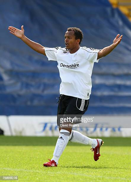 Robert Earnshaw of Derby County pictured during the pre season friendly match between Mansfield Town and Derby County at Field Mill on July 28 2007...