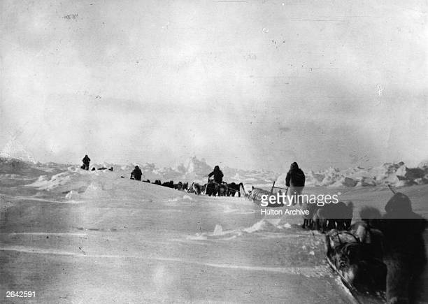 Robert Edwin Peary American naval commander and explorer with members of the 19081909 North Pole expedition with Frederick Albert Cook American...
