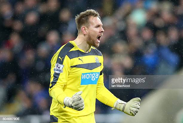 Robert Elliot of Newcastle United celebrates during the Barclays Premier League match between Newcastle United and Manchester United at St James'...