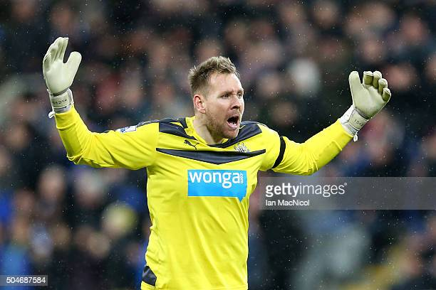 Robert Elliot of Newcastle United reacts during the Barclays Premier League match between Newcastle United and Manchester United at St James' Park on...