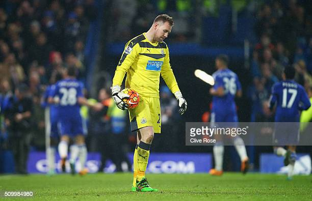 Robert Elliot of Newcastle United shows his dejection after Chelsea's fifth goal during the Barclays Premier League match between Chelsea and...