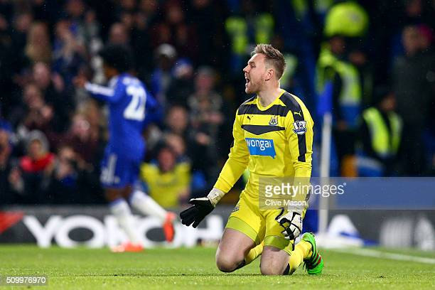 Robert Elliot of Newcastle United shows his frustration after conceding the third goal to Chelsea during the Barclays Premier League match between...