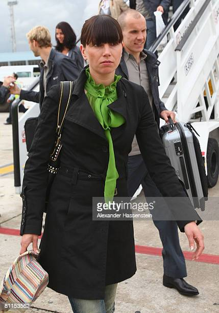 Robert Enke of Germany arrives with his wife Teresa at Palma Airport on May 19 2008 in Palma de Mallorca Spain The German National team stays in...